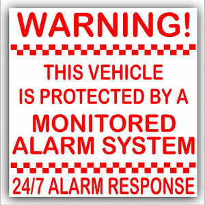 2 Vehicle Protected by Monitored Alarm System Stickers-Car,V<wbr/>an,Truck,Taxi,<wbr/>Cab-EX