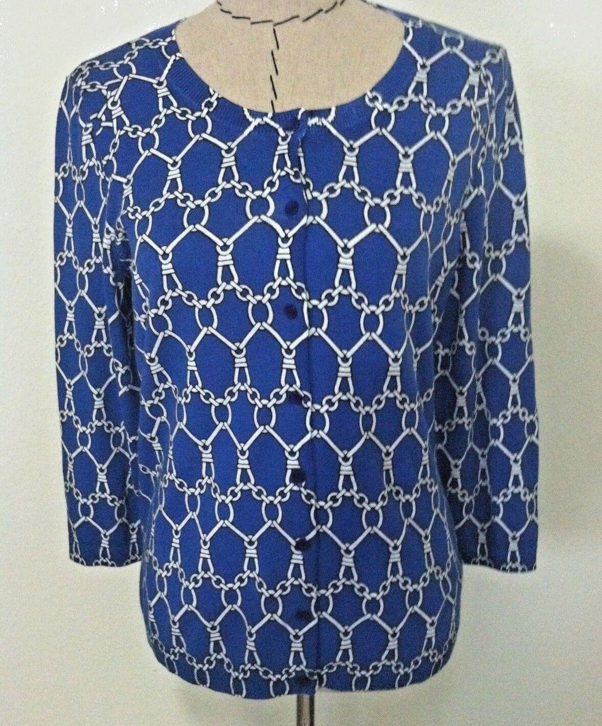 New Talbots L women cardigan button up bluee thin light knit chain 3 4 size