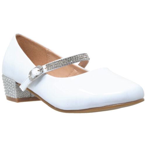Kids Dress Shoes Rhinestone Ankle Strap Mary Jane Pumps White