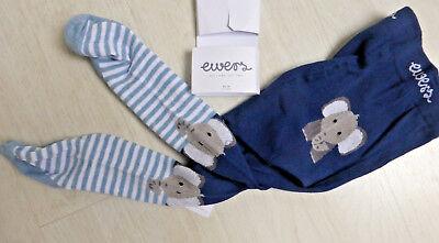 ewers Strumpfhose mit  Po-Motiv marine mit hellblauen Ringeln  NEU!!! Elefant