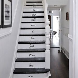 Hand Written Numbers For Stairs Wooden Wall Art Decal