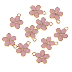 10PCS-5-Colors-Enamel-Beads-Flower-Pendant-Charm-Crafts-DIY-Jewelry-Findings
