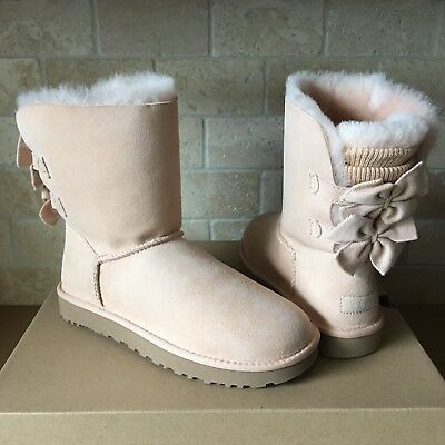9ac3be4f888 UGG BAILEY BOW SHORT KNIT RUFFLE SUEDE AMBERLIGHT CLASSIC BOOTS SIZE 5  WOMENS | eBay
