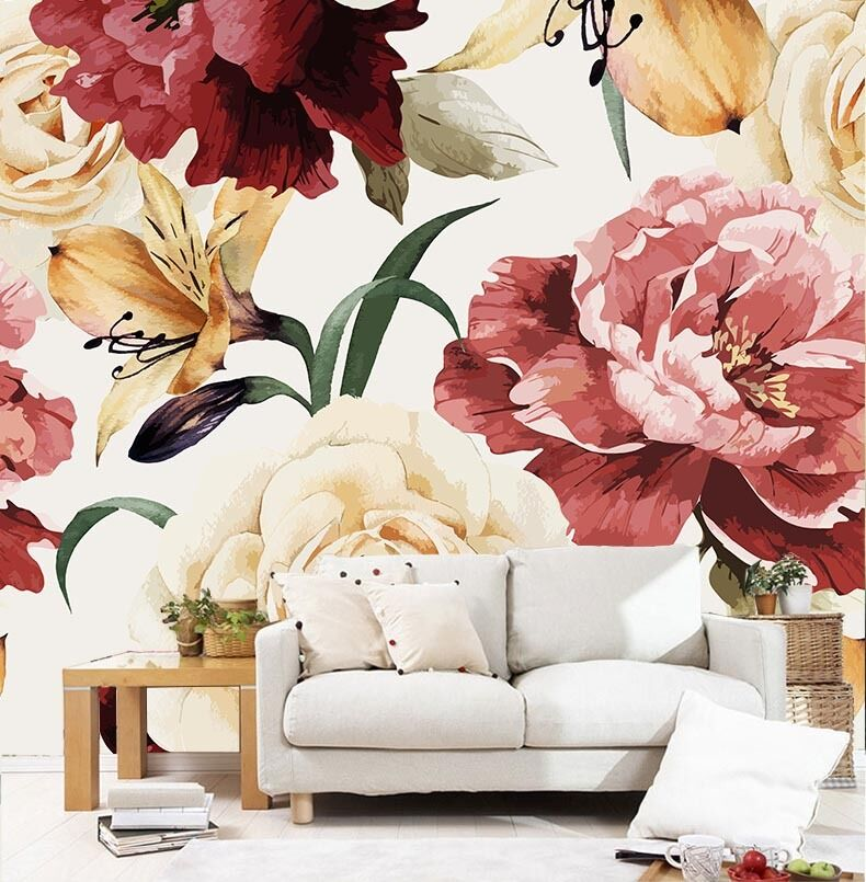 3D Beautiful flowers 1 WallPaper Murals Wall Print Decal Wall Deco AJ WALLPAPER