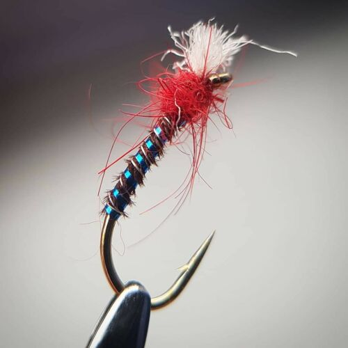 Set of 3 Lightweight Holo Blue Fly Fishing Flies Red  Buzzers size 10