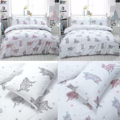 Kitten Cat Patterned Bedding Duvet Cover Sets Pink Grey Multi Colour Pillowcase