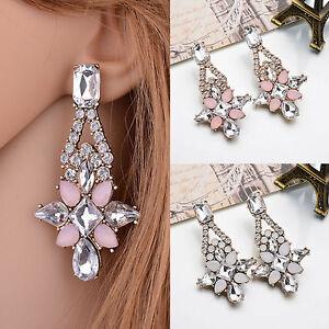 New-Elegant-Women-Crystal-Resin-Flower-Ear-Stud-Eardrop-Dangle-Earring-Jewelry