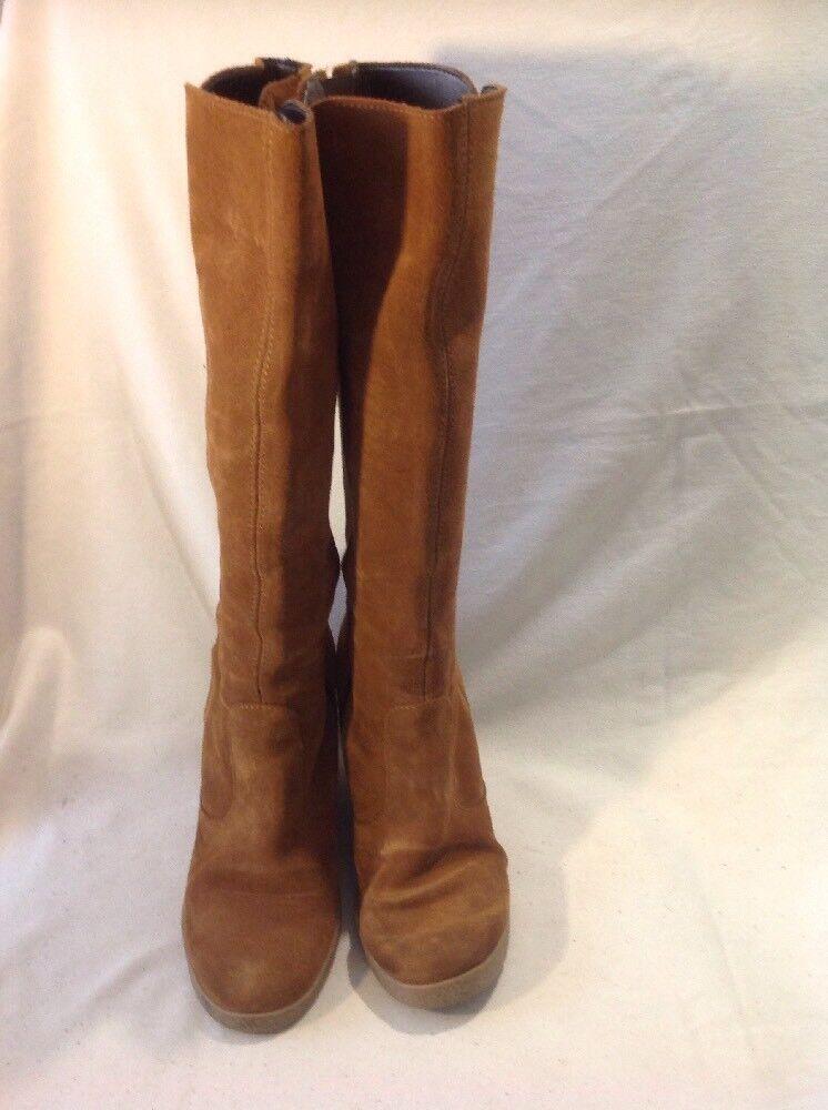 Maddison Braun Knee High Suede Stiefel Größe 38