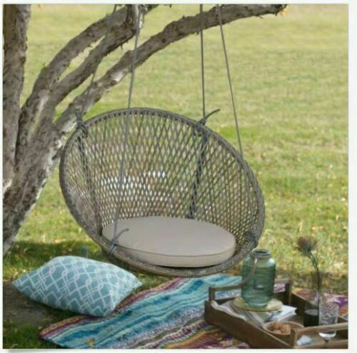Sensational Outdoor Chair Hanging Round Swing W Cushion Resin Wicker Patio Porch Furniture Ibusinesslaw Wood Chair Design Ideas Ibusinesslaworg
