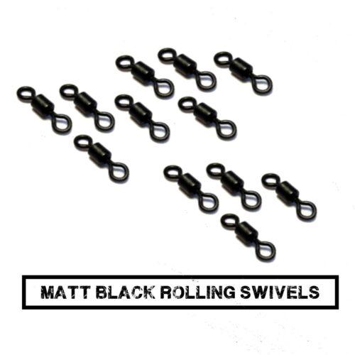 500 taille 8 émerillons roulant noir mat fits Korda plomb clips