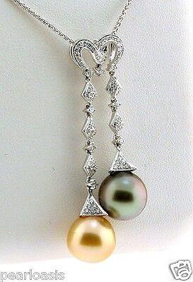Golden South Sea Pearl & Peacock Tahitian Pearl Pendant /Chain 0.54Ct. 18K Gold