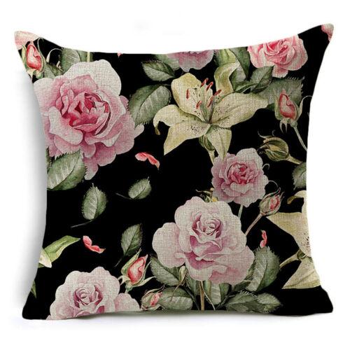 Linen Black Rose Print Pillow Case Cover Sofa Car Cushion Cover Home Decor