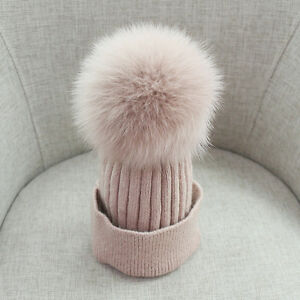 Fox-Fur-Pompom-Ball-Knitted-Ski-Hat-Winter-Warm-Cashmere-Blend-Cuffed-Beanie-Cap