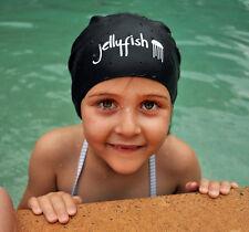 Junior Long Hair Swim Cap for kids with very long hair or braids, Black