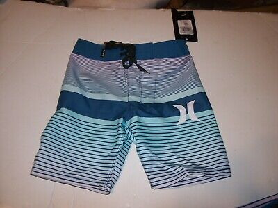 NEW Hurley pink blue white plaid board shorts boys youth swim trunks 10 14 16