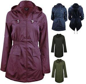 Womens-Ladies-Brave-Soul-Showerproof-Plain-Parka-Hoodie-Rain-Zip-Up-Jacket-Top