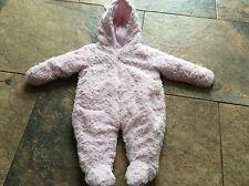 baby girls pink fleece snow suit all in one 0/3 months thick fleece   winter
