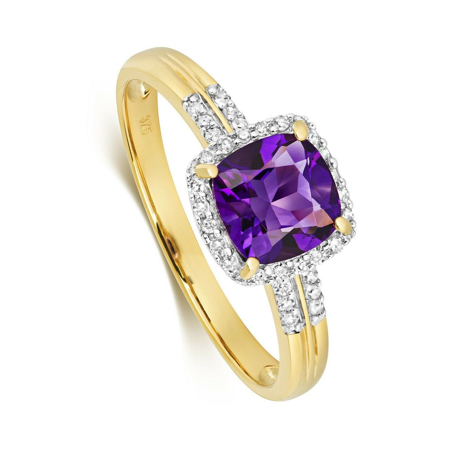 Amethyst and Diamond Ring Yellow gold Cushion Engagement hallmarked Certificate