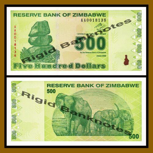Zimbabwe 500 Dollars 2009 P-98 Revised Trillion Unc
