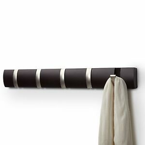 New Contemporary Modern Brown Wood Amp Metal 5 Hooks Coat Or