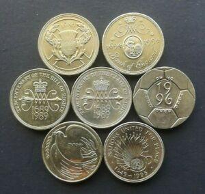 Varie RARE £ 2 due sterline monete IOM Isle of Man Jersey Gibilterra Cancro al Seno