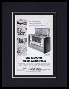 1954-RCA-Victor-Strato-World-Radio-Framed-11x14-ORIGINAL-Vintage-Advertisement