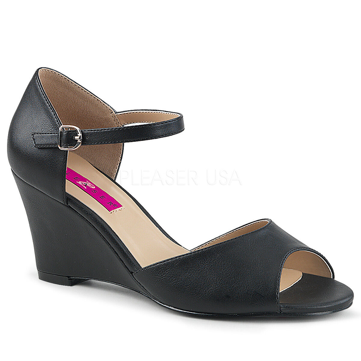 PLEASER Sexy 3  Wedge High Heels Black Faux Leather Sandals shoes KIM05 BPU