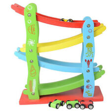 Large 72cm Wooden Click Clack Racetrack Car Marble Track Run Kids Childrens Toy