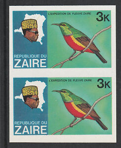 Zaïre 3017 - 1979 River Exn 3k Sunbird Imperf Paire Non Montés