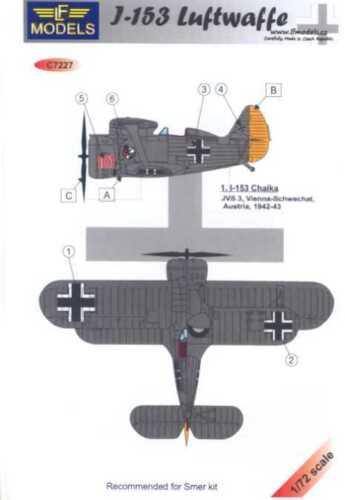 LF Models Decals 1//72 POLIKARPOV I-153 German Luftwaffe Markings