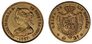 4-GOLD-ESCUDOS-ORO-ISABELLA-II-ISABEL-II-MADRID-1867-XF-EBC