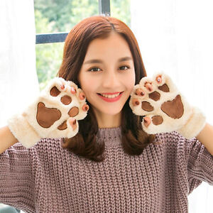 Unisex-Fall-Winter-Warm-Thicken-Cute-Kitten-Cat-039-s-Paws-Flannel-Couples-Gloves