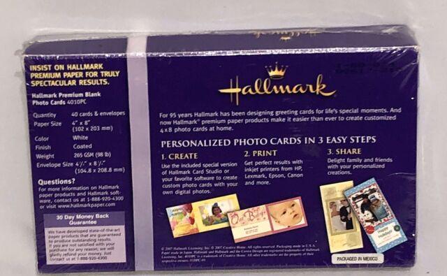 Hallmark Premium Blank 4x8 Photo Cards + Envelopes + Software