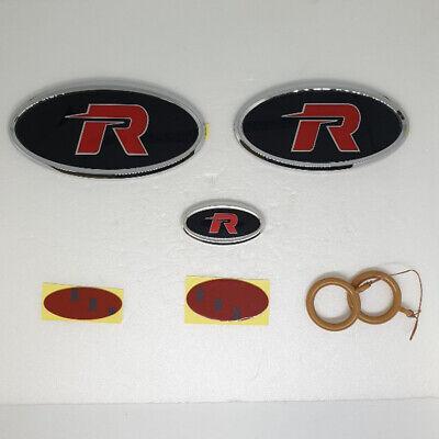 Rear Steering Wheel R logo Emblem 3p 1Set For 2008 2013 Kia Soul Front