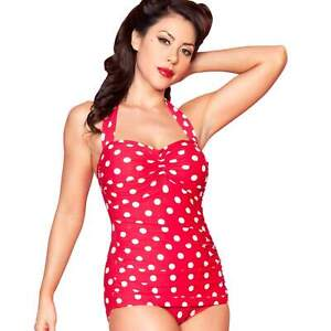 5d25a1aaa2c Esther Williams Red/White Polka Dots One-Piece Swimsuit Vintage ...