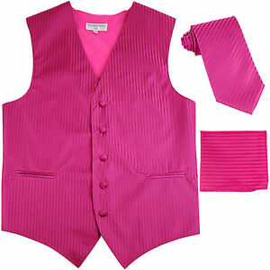 for Formal Occasions Men/'s Solid Hot Pink Polyester Tuxedo Vest Waistcoat Only
