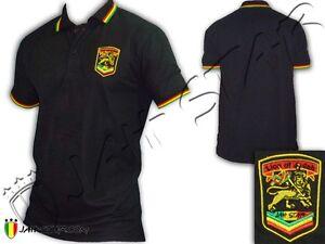 Rasta Reggae Polo shirt Peace & Love Lion Logo Jah Star ...