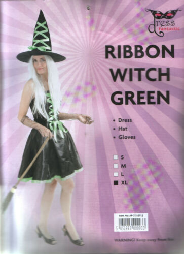 Womens Witch Costume Fancy Dress Halloween Dress Hat Gloves size XL limited qty