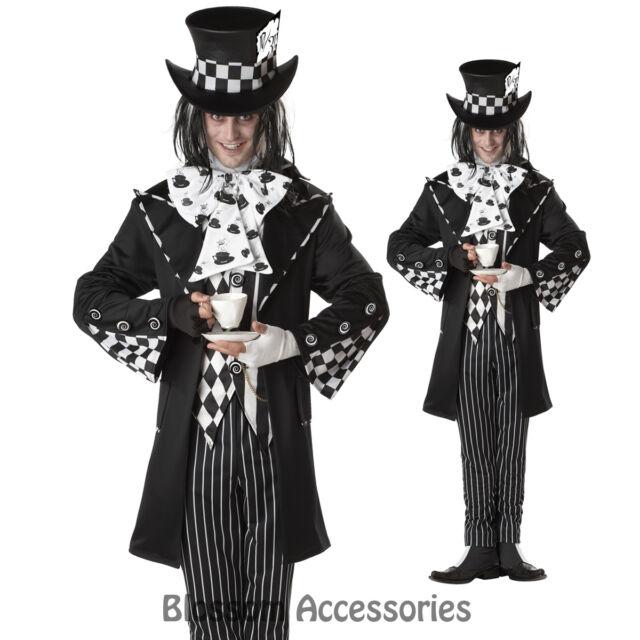 C152 Mens Dark Mad Hatter Wonka Fancy Halloween Adult Costume