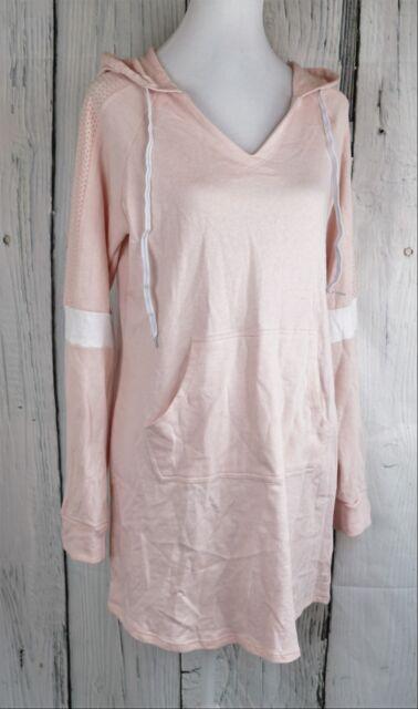 Energie Juniors' Sarai Sneaker Hoodie Tunic Top Dress Pullover Pink Large L