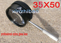 Us 35x50mm Jewelry Magnifying Glass With Handle For Reading Fast Shipping
