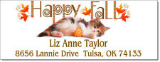 Happy Fall Kitty Cat Design 87 Return Address Labels Glossy Or Matte