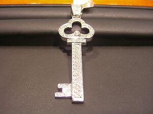 Fine mens diamond key pendant 14 karat white gold 150 carat image is loading fine men 039 s diamond key pendant 14 aloadofball Image collections