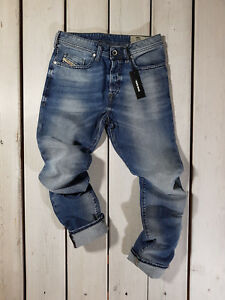 Rrp-156-Nuovo-Jeans-Diesel-Uomo-Buster-0853P-Regular-Slim-Tapered-Stretch-Blu