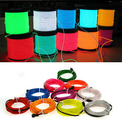 2M/5M EL Tube Wire LED Flash Neon Light Glow Rope String 3V/12V Control Party