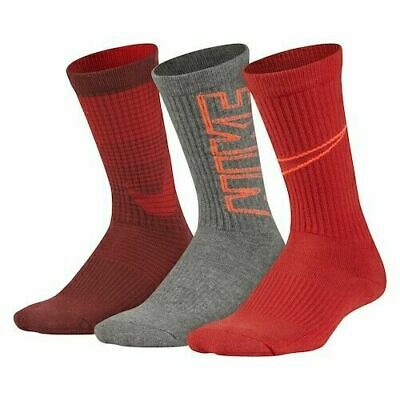NIKE YOUTH PERFORMANCE CUSHIONED CREW SOCKS 3 PACK MULTI COLOR SIZE 5Y-7Y NWT
