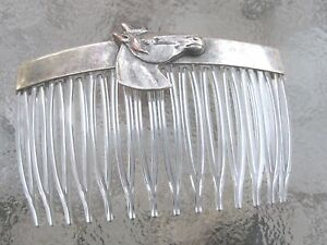 Vintage-Hair-Comb-Horse-Head-Antiqued-Silver-Plated-Clear-Comb-Made-in-USA-017