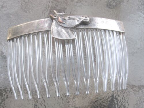 Vintage Hair Comb Horse Head Antiqued Silver Plated  Clear Comb  Made in USA 017