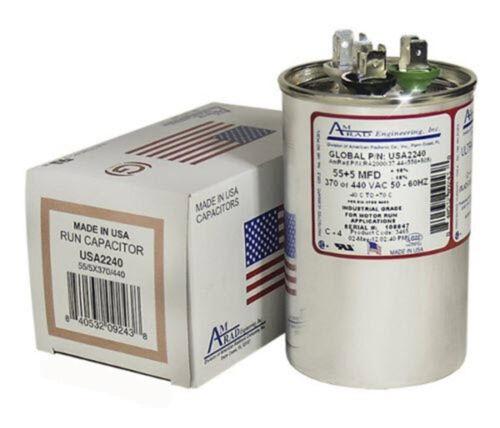 5 uF MFD x 370 440 VAC Motor Run Capacitor AmRad USA2240 Made in USA 55