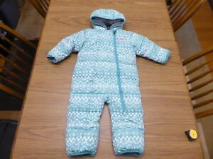 fd077b33e667 Columbia Baby Fleece Lined Green White Puffer Bunting Snowsuit 12-18 ...